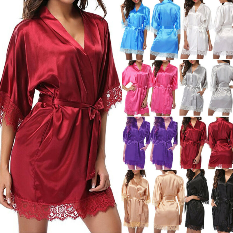 Hot Sale Solid Lace V-neck Sexy Women's Silk Satin Robe Sleepwear Lingerie Dress Kimono Bathrobe Sleepwear Sexy Nightwear