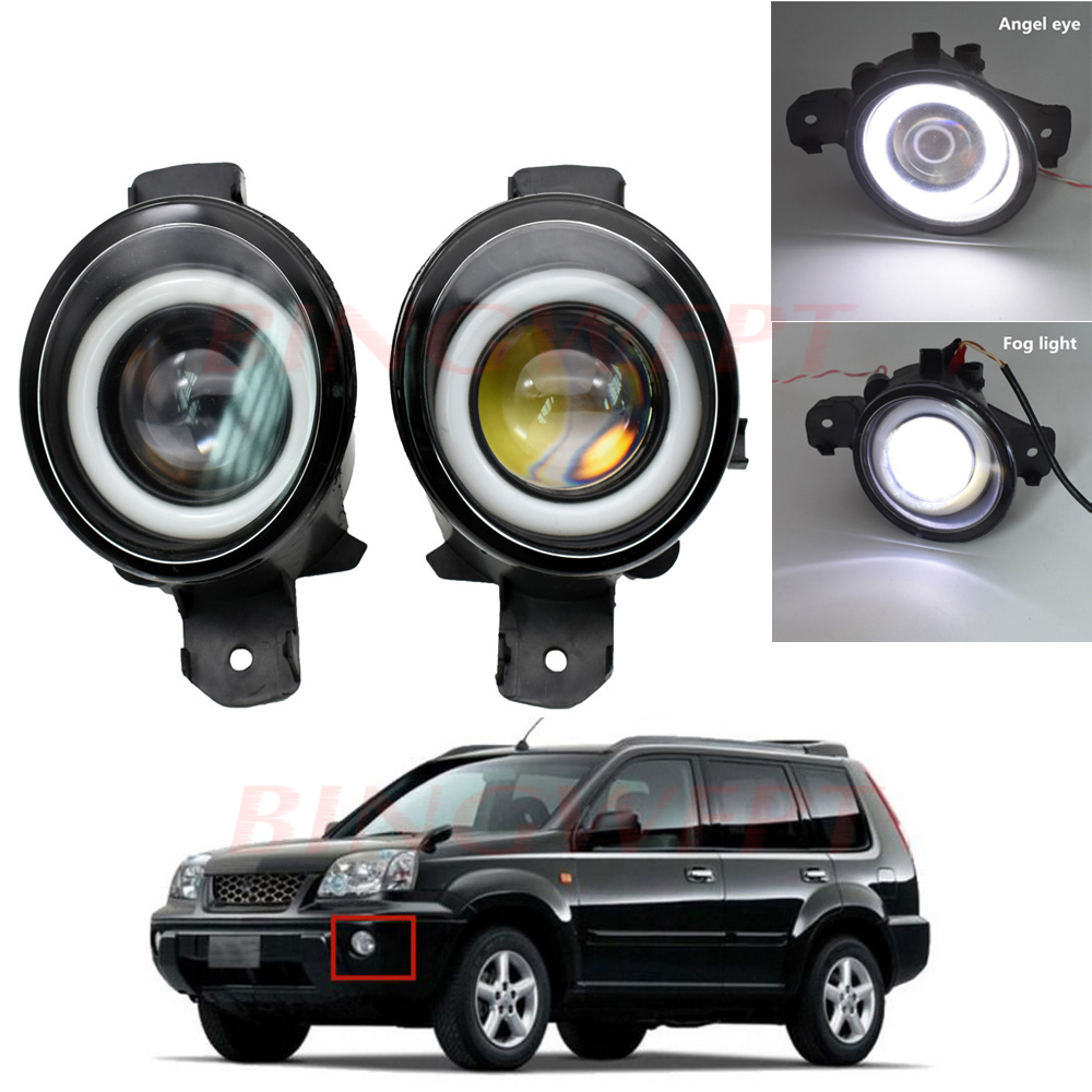 2PCS Fog Lamp Assembly Super Bright LED Fog Light with Angel eye For Nissan X Trail