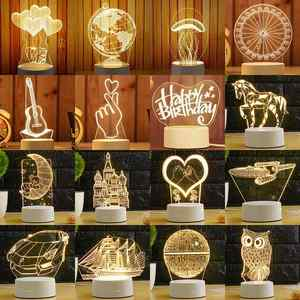 ARILUX Led-Lamp Night-Lights 3d-Plate Illusion Home-Decorative Novelty