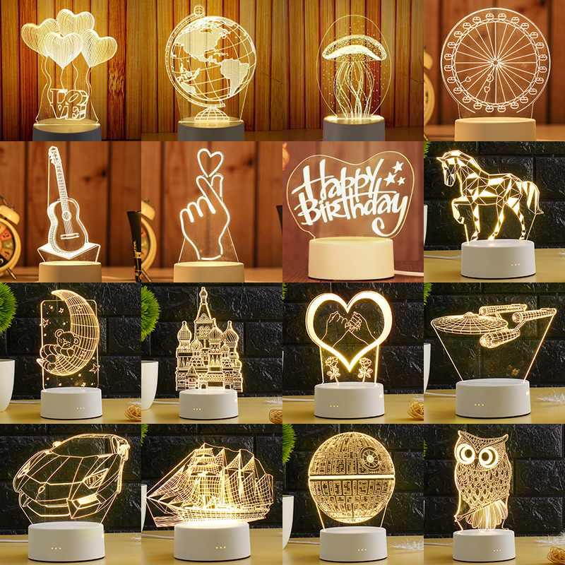 ARILUX 3D plaque lampe à LED créatif 3D LED veilleuses nouveauté Illusion nuit lampe 3D Illusion lampe de Table pour la maison décorative