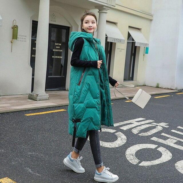 2020 Autunno Inverno di Grandi Dimensioni di Moda Caldo Morbido Ed Elegante con Cappuccio Delle Donne di Stile Coreano Lungo Delle Signore Del Cotone Della Maglia Gilet