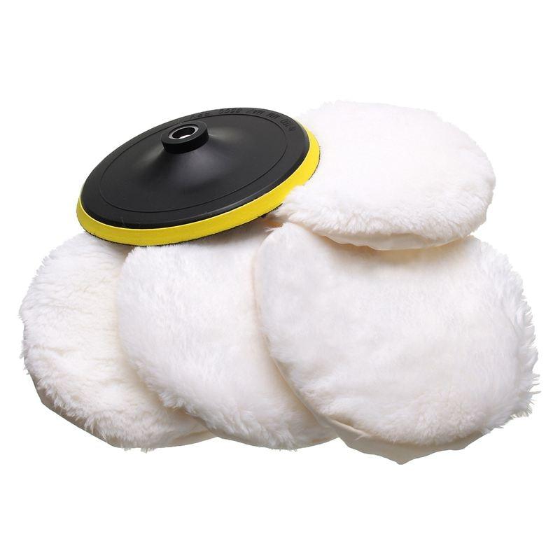 5Pcs Polisher/Buffer Kit Soft Wool Bonnet Pad White:4 Inch