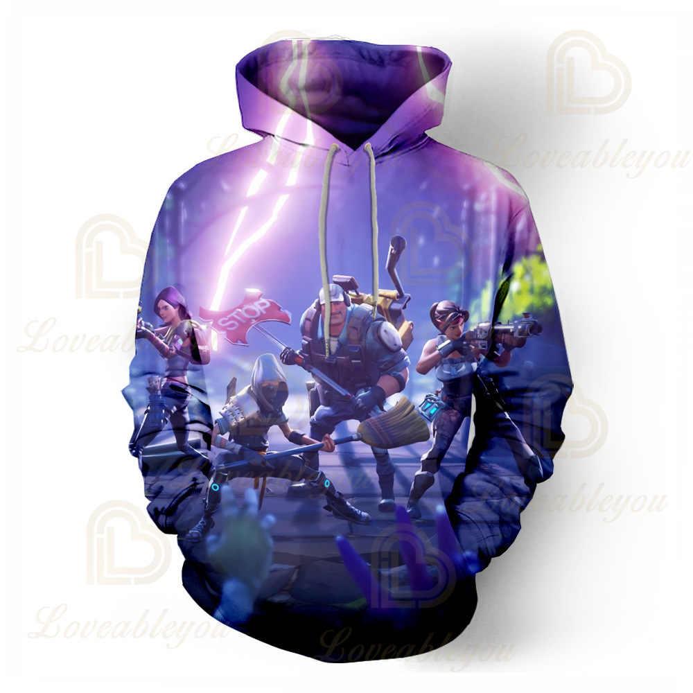 새로운 전투 게임 3D 까마귀 어린이 후드 Streetwear 힙합 따뜻한 스웨터 까마귀 하라주쿠 승리 로얄