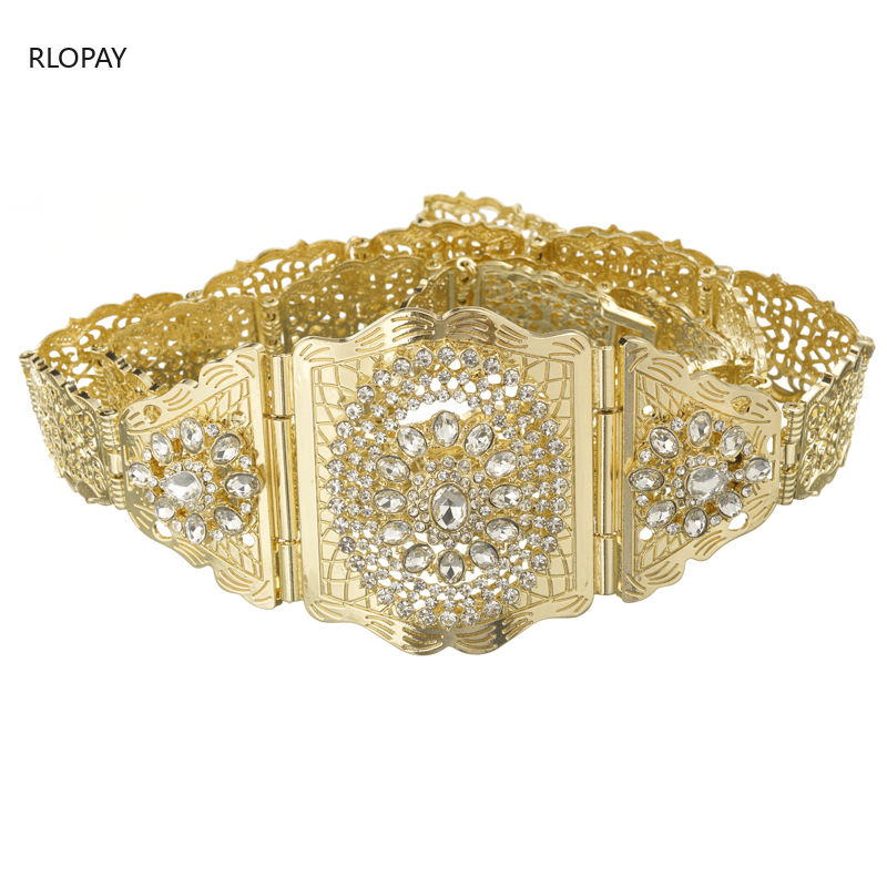 Image 5 - New Moroccan Chic Caftan Belt For Women Luxury Birdal Wasit Band  With Colorful Rhinestone Arabic Gold BeltsBody Jewelry