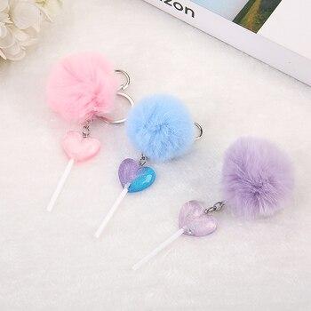 1PC femmes porte-clés coeur sucette rrésine breloques sac à main porte-clés avec boule bouffante coeur sucette porte-clés