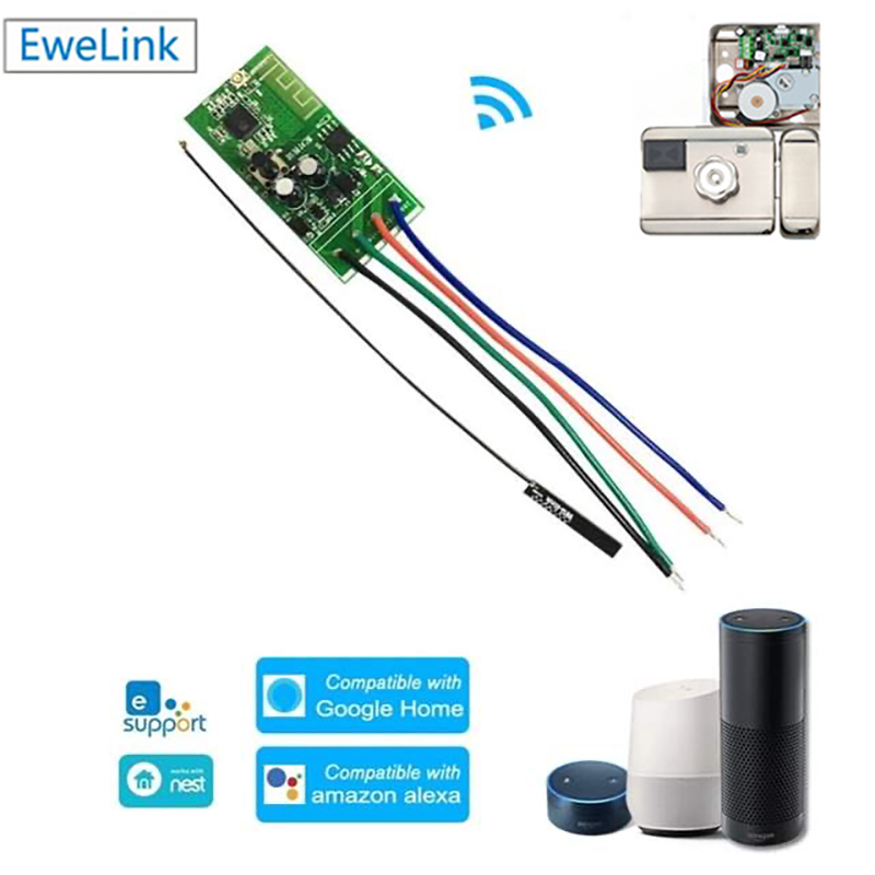 eWelink WiFi Smart Switch 12V DC Wifi Relay Electronic Lock Module APP Control Smart Lock Module Works Alexa Google Home IFTTT