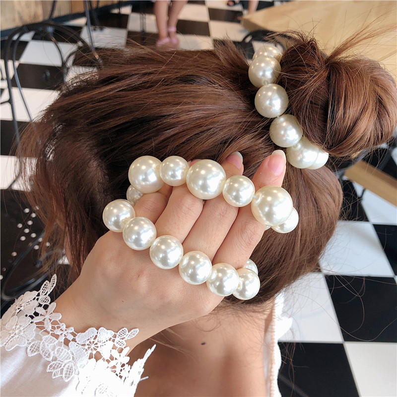 Fashion Pearl Leather Hair Accessories For Women Solid Color Hair Rope Rubber Band Girl Hair Circle Headdress