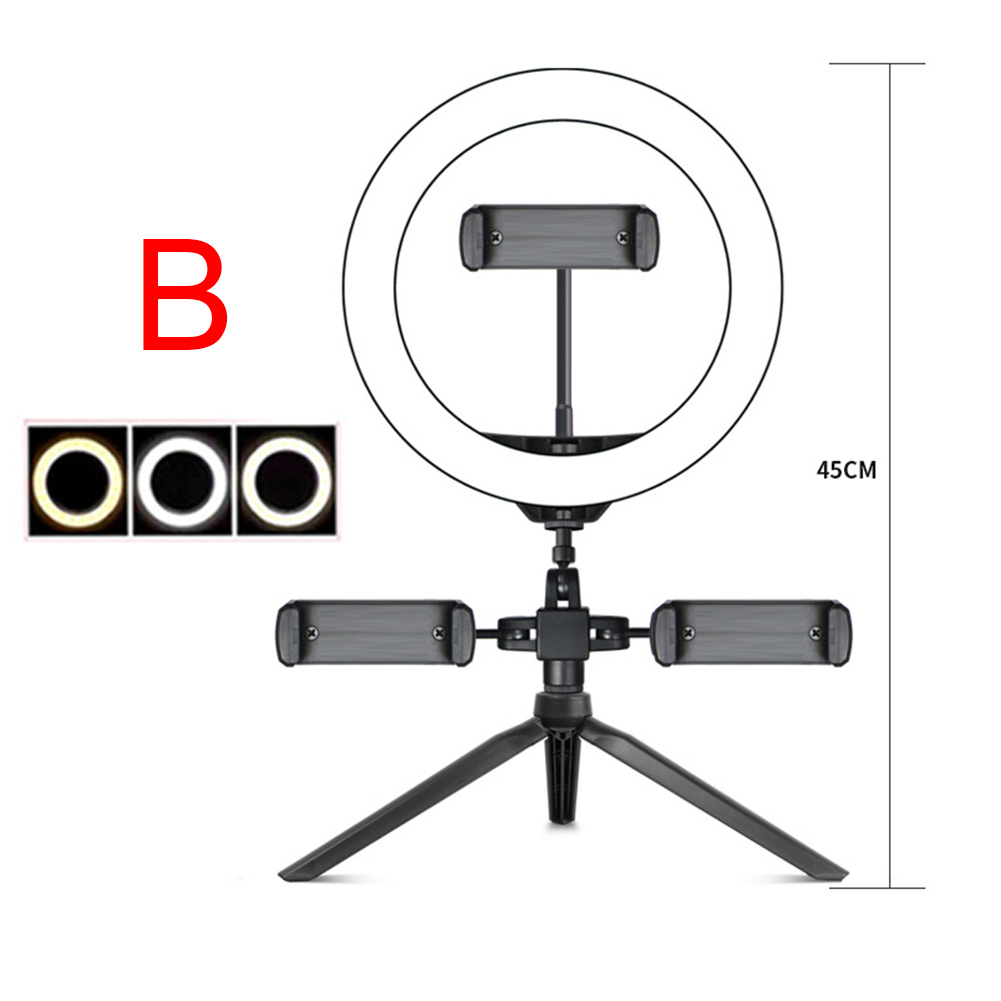 cheapest Photography LED Selfie Ring Light 26CM Dimmable Camera Phone Ring Lamp 10inch With Table Tripods For Makeup Video Live Studio