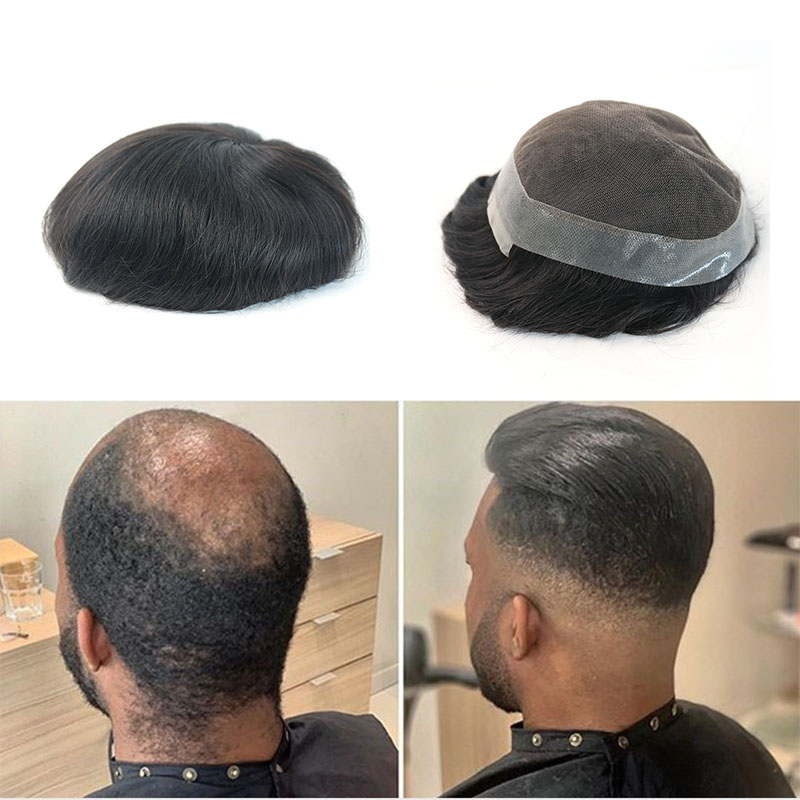 Remy Human Hair Replacement System For Men Toupee Mens Hairpieces Lace Base With PU 6x8 8x10 Inches Rosa Queen