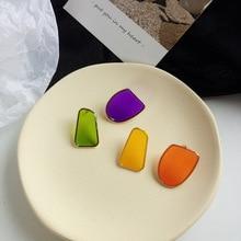Sweet Jewelry Colorful Enamel Stud Earrings Asymmetric Irregular Temperament Female Gift