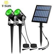 T SUNRISE Solar Licht LED Grün Landschaft Lampe Zwei Strahler mit Solar Panel Im Freien Garten Licht Hof Dekoration IP65