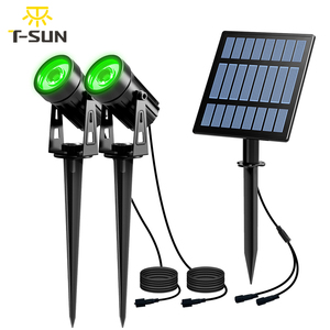 Image 1 - T SUNRISE Solar Light LED Green Landscape Lamp Two Spotlights with Solar Panel Outdoor Garden Light Courtyard Decoration IP65