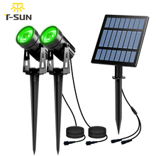 T SUNRISE ソーラーライト led グリーン風景ランプ 2 ソーラーパネルでスポットライト屋外ガーデンライト中庭の装飾 IP65