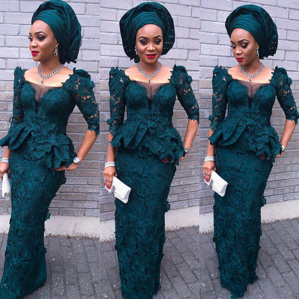 Fashion Green Square Neck Sheath Sexy Prom Gown 2018 Newest Designs African Style Half Sleeve Lace Mother Of The Bride Dresses