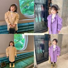 Baby Girls Trench Coats Jacket 2020 Autumn Winter New Children's Girls Solid Lon