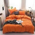 Зимний новый комплект постельного белья однотонного оранжевого цвета  постельное белье  простыня  пододеяльник  наволочка  двуспальный пол...