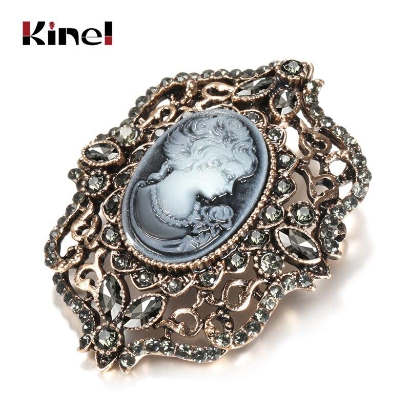 Kinel moda cinza cristal broche para mulher bohemia étnico festival broches broches completa strass rainha cabeça broche pinos