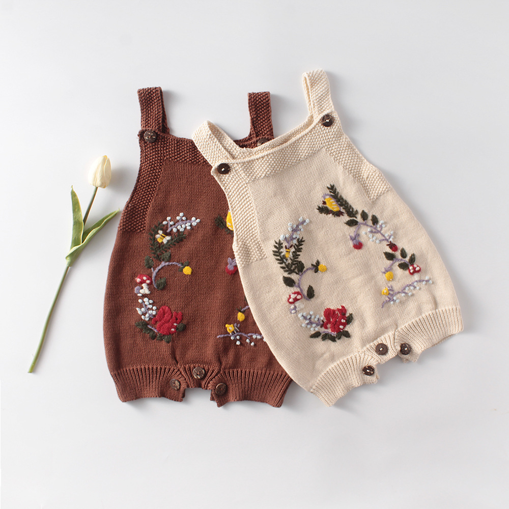 MILANCEL Baby Onesise Knit Baby Suit Emobrodiery Toddler Girls Bodysuits Sleeveless Baby Clothes