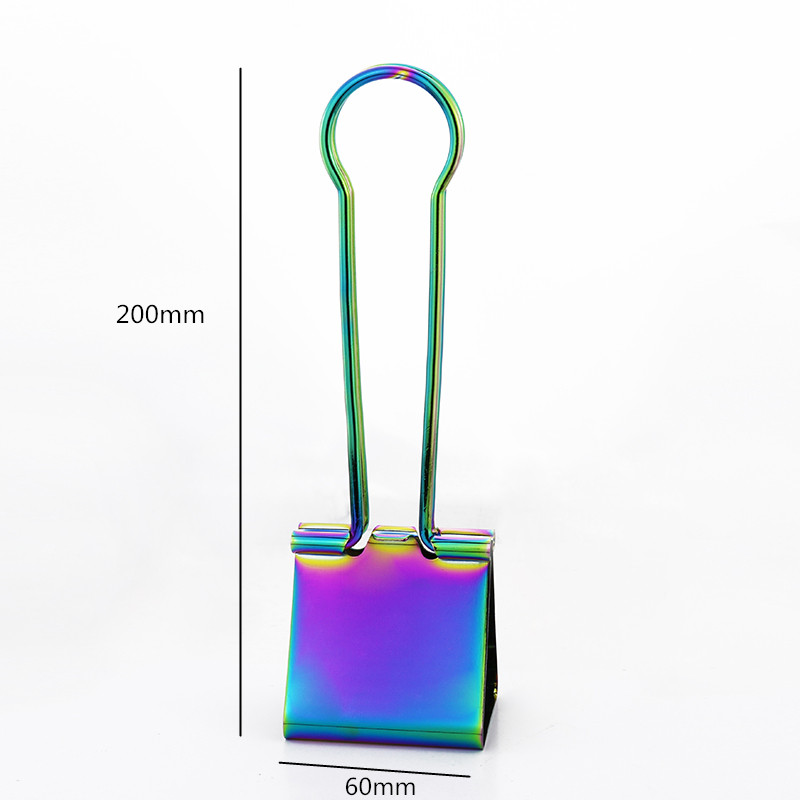 TUTU Dazzle Colour Big Size Metal Binder Clips 60mm Notes Letter Paper Clip Office Supplies Binding Securing Clip Product H0092