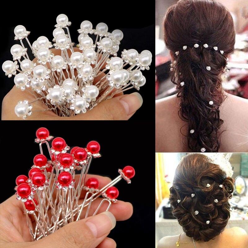 2020 Fashion Crystal Pearl Wedding Hair Pins Flower Bridal Hairpins Bridesmaid Hair Clips Hair Accessories Barrettes Hairwear