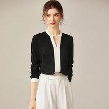 100% шелковая блузка женская рубашка в стиле пэчворк с принтом