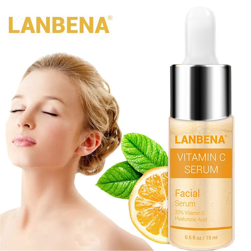 LANBENA Vitamin C Whitening Face Serum Essence Liquid Removing Dark Spots Freckle Speckle Fade Dark Spots Anti-Aging Skin Care