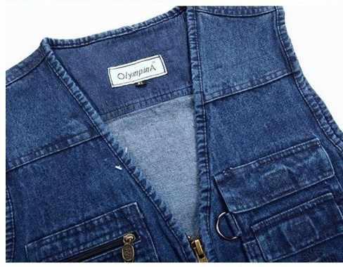 Denim Blauw Vesten Plus Size XL-3XL 4XL 5XL 95% Katoen Multi Pocket Sleevless Jean Jas Mannen Fotografie Vest