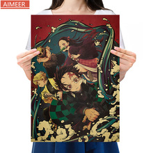 Poster-Bar Cafe Decor Anime-Character Vintage Paper Collection Painting Slayer's-Blade