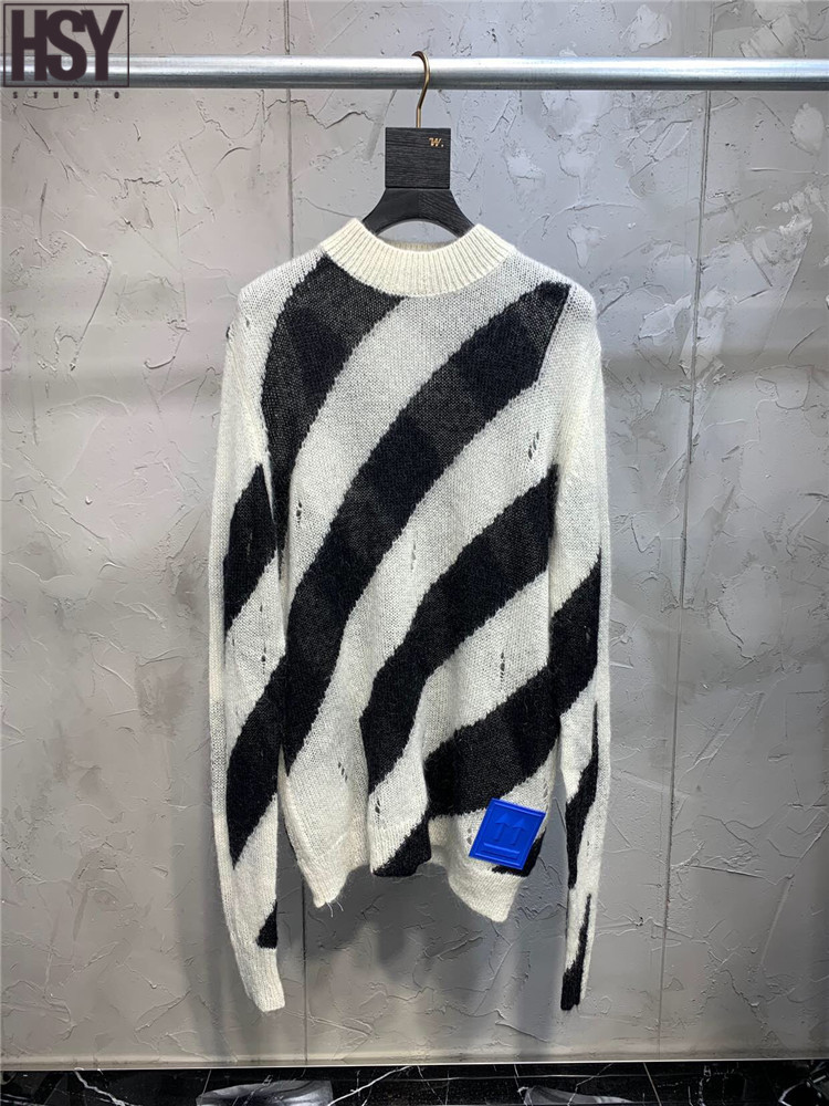 【HSY】2019 Autumn Winter New Women Streetwear Blue Rubber Arrow Long Sleeve O Neck Black And White Stripes Mohair Blended Loose H