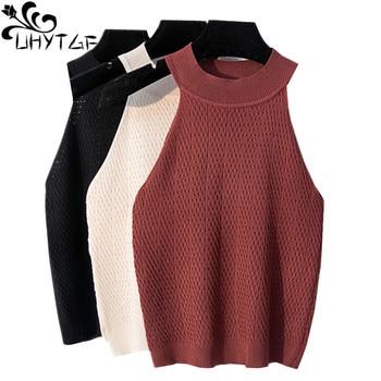 UHYTGF Casual knit top vest women Fashion sleeveless hanging neck sexy summer sweater shirt Elastic slim short vest female 734