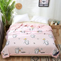 Novo estilo de cama lavado algodão padrão dos desenhos animados verão ar condicionado colcha confortável respirável multifuncional verão colcha