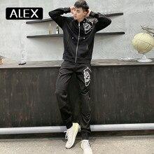 Alex Plein – sweat à capuche pour homme, 100% coton, broderie de crâne, polaire, fermeture éclair, Streetwear, esthétique Menashion, Couple, vêtements de sport, nouveau