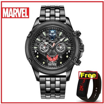 Disney's official Genuine Marvel BLACK PANTHER men quartz Watches 50m waterproof stainless steel leather Limited Version M-9096 фото