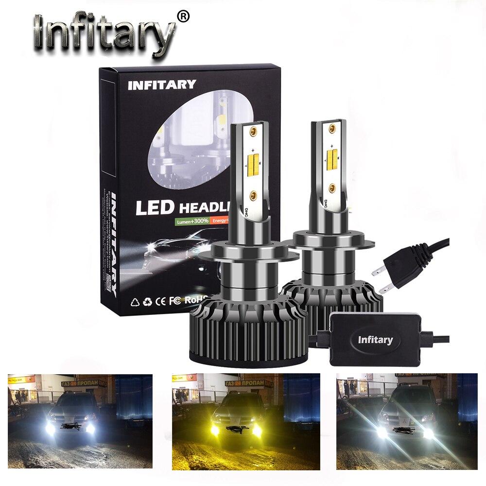 Infitary 3 цвета Изменение фары 3000K 4300K 6500K вспышка 72W фары для авто фары H7 светодиодный H1 H8 H 9 H11 9005 9012 9006 H4 автомобиль новый