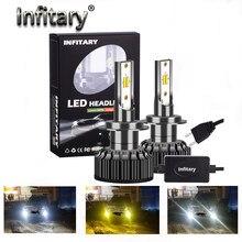 Infitary 3 cores mudando faróis 3000k 4300k 6500k flash 72w luzes de automóvel h7 led h1 h8 h 9 h11 9005 9012 9006 h4 carro novo