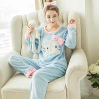 Novo inverno flanela quente pijamas coreano kawaii dos desenhos animados conjunto de pijama moda mujer lazer casa pano pijamas