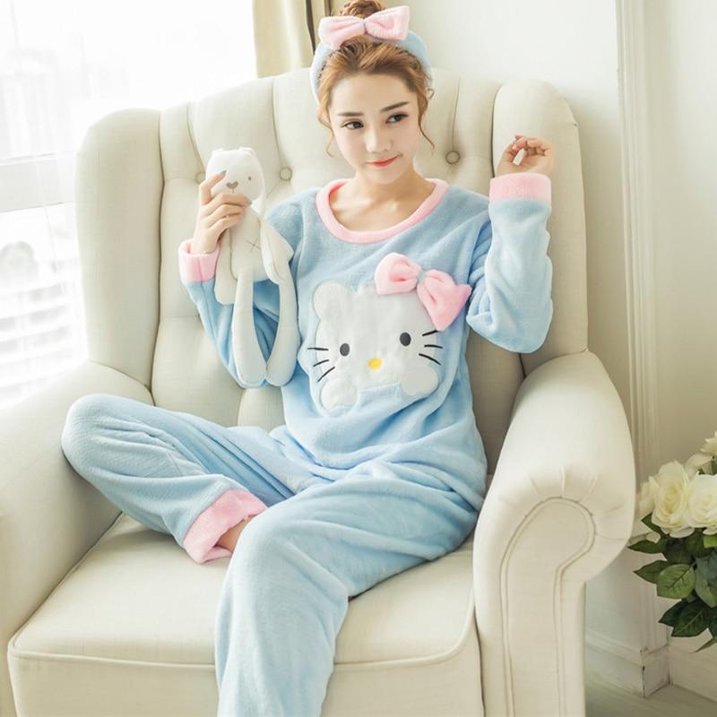 New Winter Flannel Warm Pajamas Korean Kawaii Cartoon Pajama Set Fashion Pijama Mujer Leisure Home Cloth Pyjamas Women Sleepwear