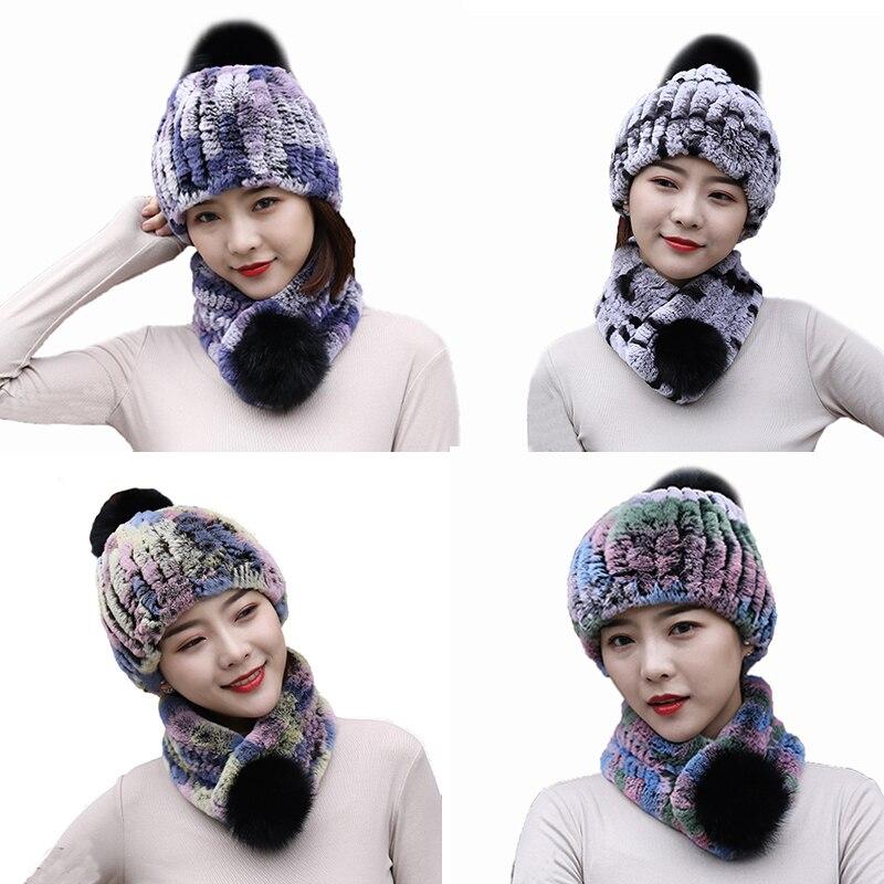 Réel Rex fourrure de lapin chapeaux de noël et écharpe 2 pièces pour les femmes hiver chaud bonnet doux moelleux
