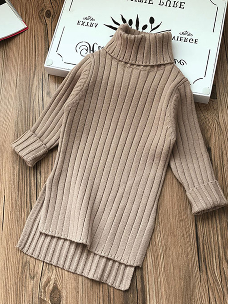 Dresses Sweater Turtleneck Toddler Girl Baby-Girls Winter No Solid Menoea 2-7Y