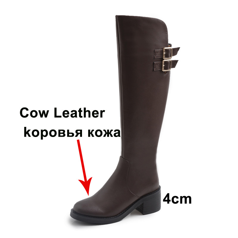 ANNYMOLI Real Leather Platform Mid Heel Knee High Boots Women Shoes Buckle Zip Block Heels Long Boots Lady Autumn Winter Coffee