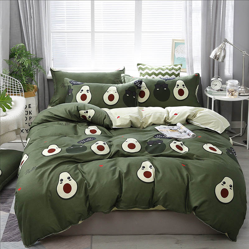 Avocado Plant Animals 4pcs Girl Boy Kid Bed Cover Set Duvet Cover Adult Child Bed Sheets Pillowcases Comforter Bedding Set 61029