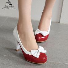 Women Shoes Round-Toe High-Heels Ladies Pump Sgesvier Spring Slip-On Bowtie Zapatos-Mujer