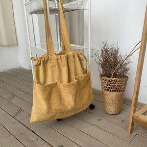 Image 1 - 2020 kış yeni kore süet ipli büyük el çantası Casual kadın çanta orta bayanlar omuzdan askili çanta genç alışveriş çantası toptan