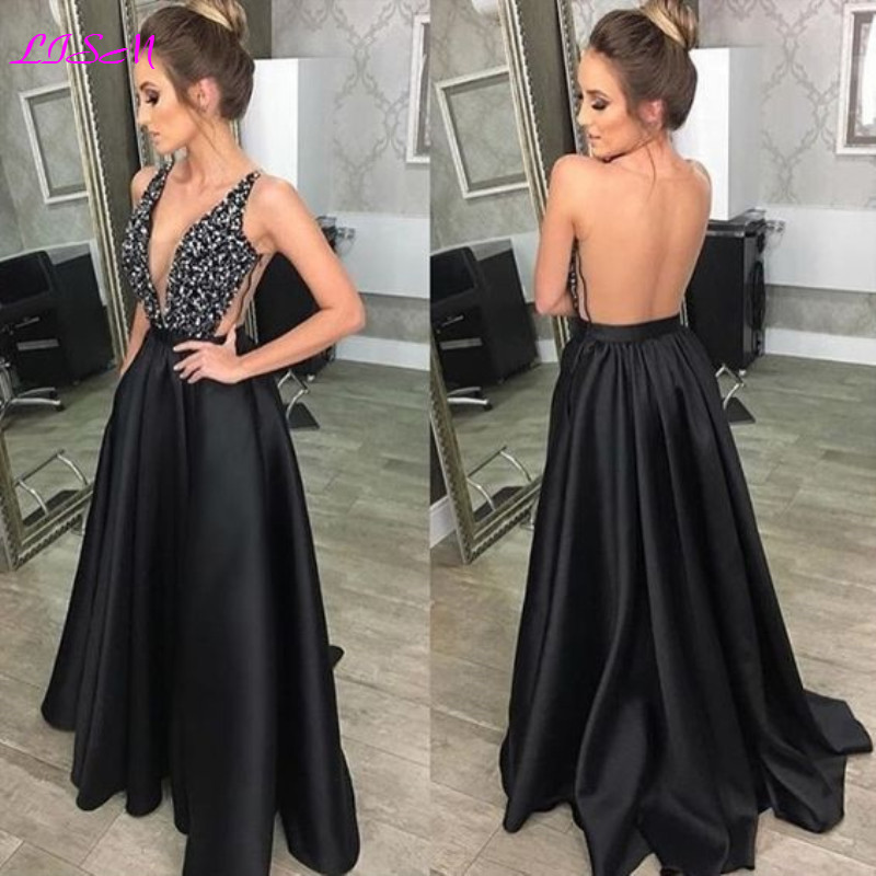 Sexy Deep V-Neck Beaded Long Prom Dresses Backless Evening Formal Gowns Elegant Satin Sleeveless Party Dress