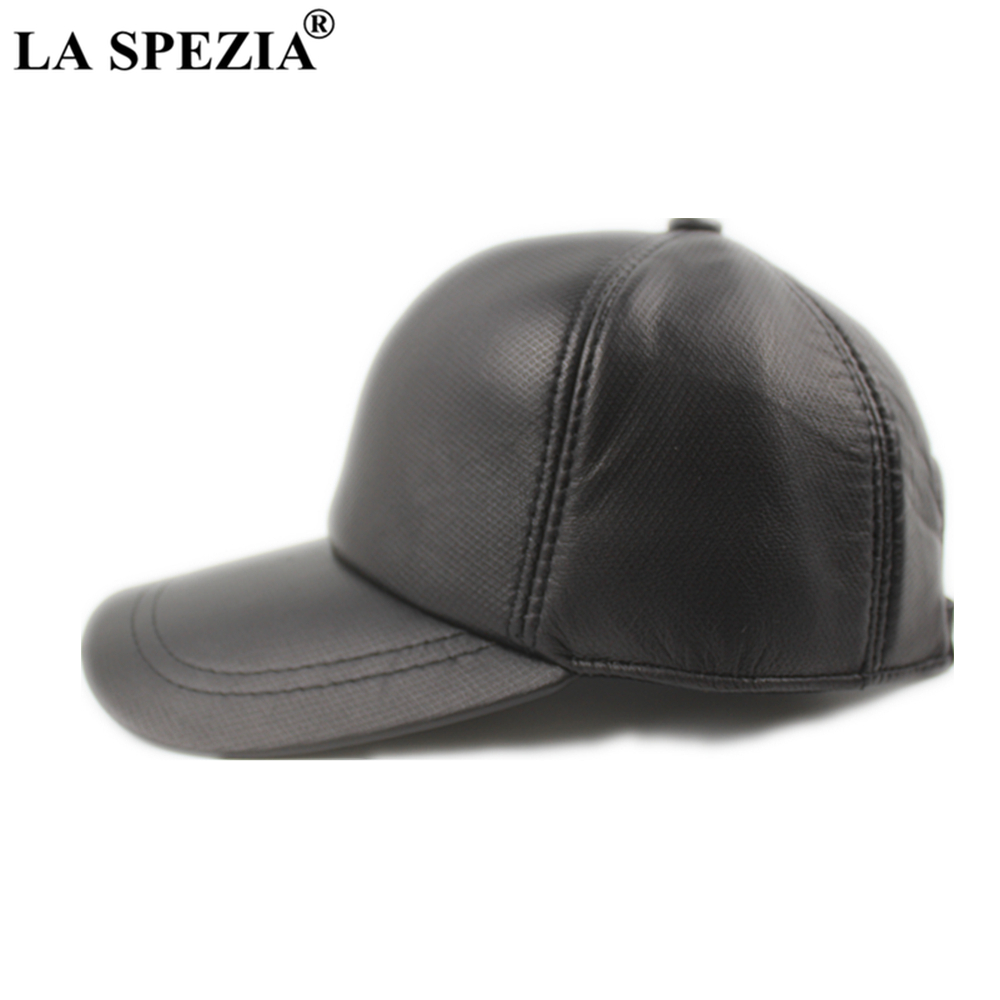LA SPEZIA Real Leather Baseball Cap Men Sheepskin Black Male Snapback Mens Winter