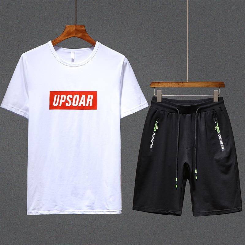 2018 New Style MEN'S Wear Summer MEN'S Short-sleeved T-shirt Leisure Suit Korean-style Fashion Clothes Plus-sized Large Size