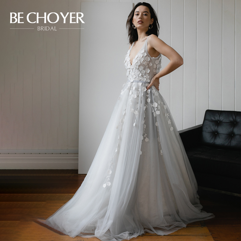 Romantic Flowers Wedding Dress BECHOYER HE02 Vintage V-neck Sleeveless A-Line French Style Backless Bride Gown Vestido De Noiva