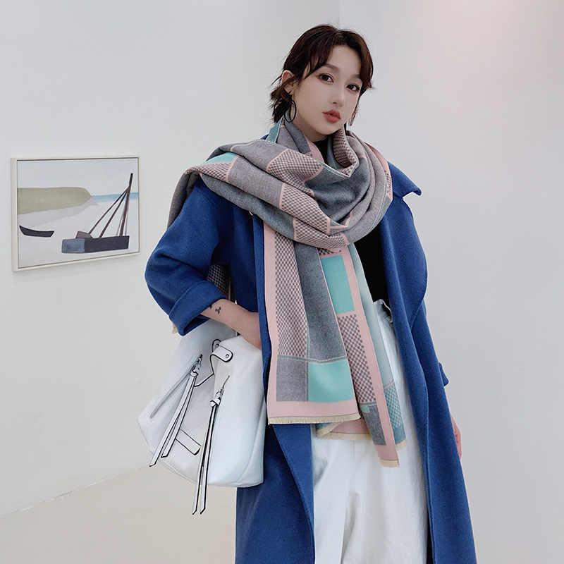 Sciarpa del progettista per Le Donne di Inverno del Cachemire Sciarpe di Marca di Lusso di Spessore Caldo Pashmina Bandana Scialli Della Signora Avvolge Coperta 2019 Nuovo