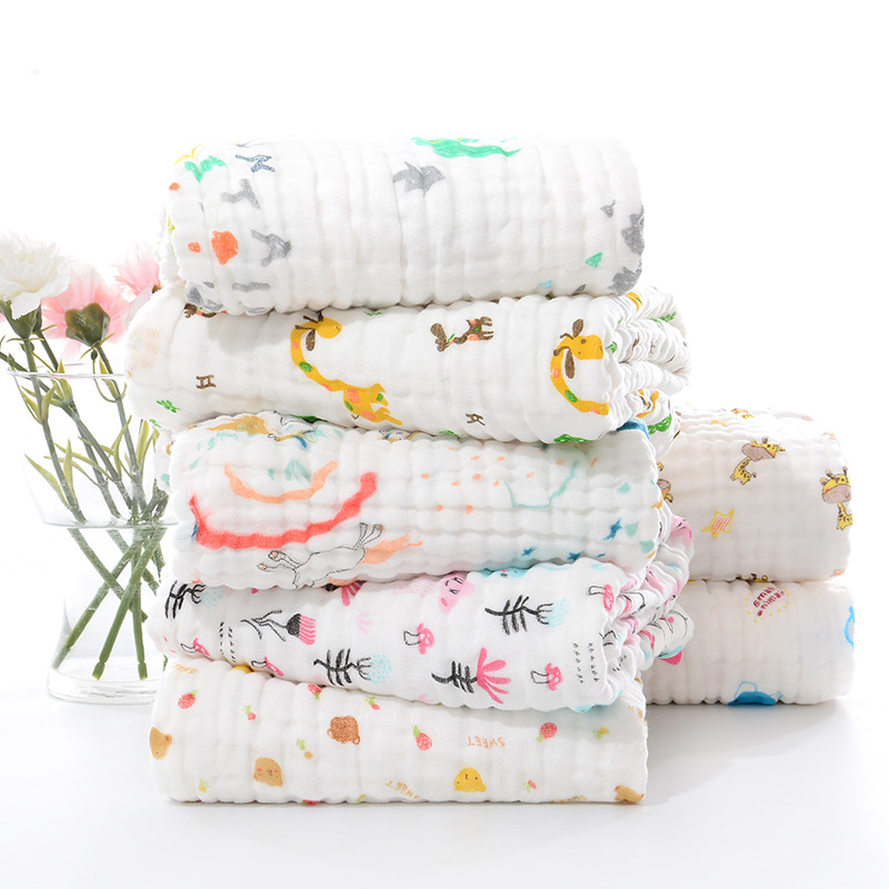 6 Layers Baby Blankets Newborn 100%Cotton Winter Baby Muslin Squares Baby Bath Towel Blanket Receiving Blanket Swaddling 100*100