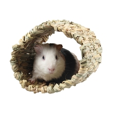 Guinea Pig Cage Accessories Grass Woven Durable Tunnel Toy Bed For Hamster HedgehogGM